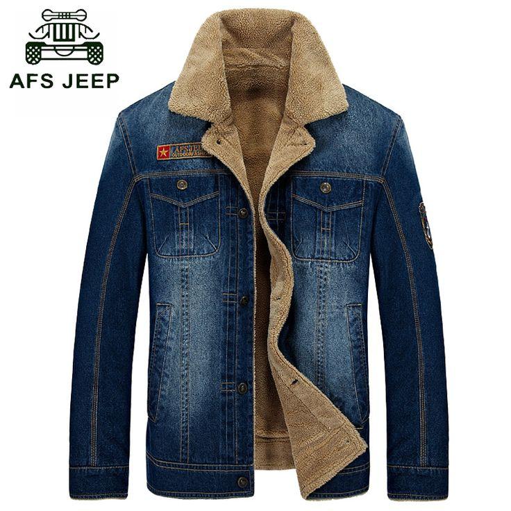 Brand clothing Winter jacket men wool inner fleece denim jacket men warm jeans jacket AFS JEEP thick mens outerwear parka coat