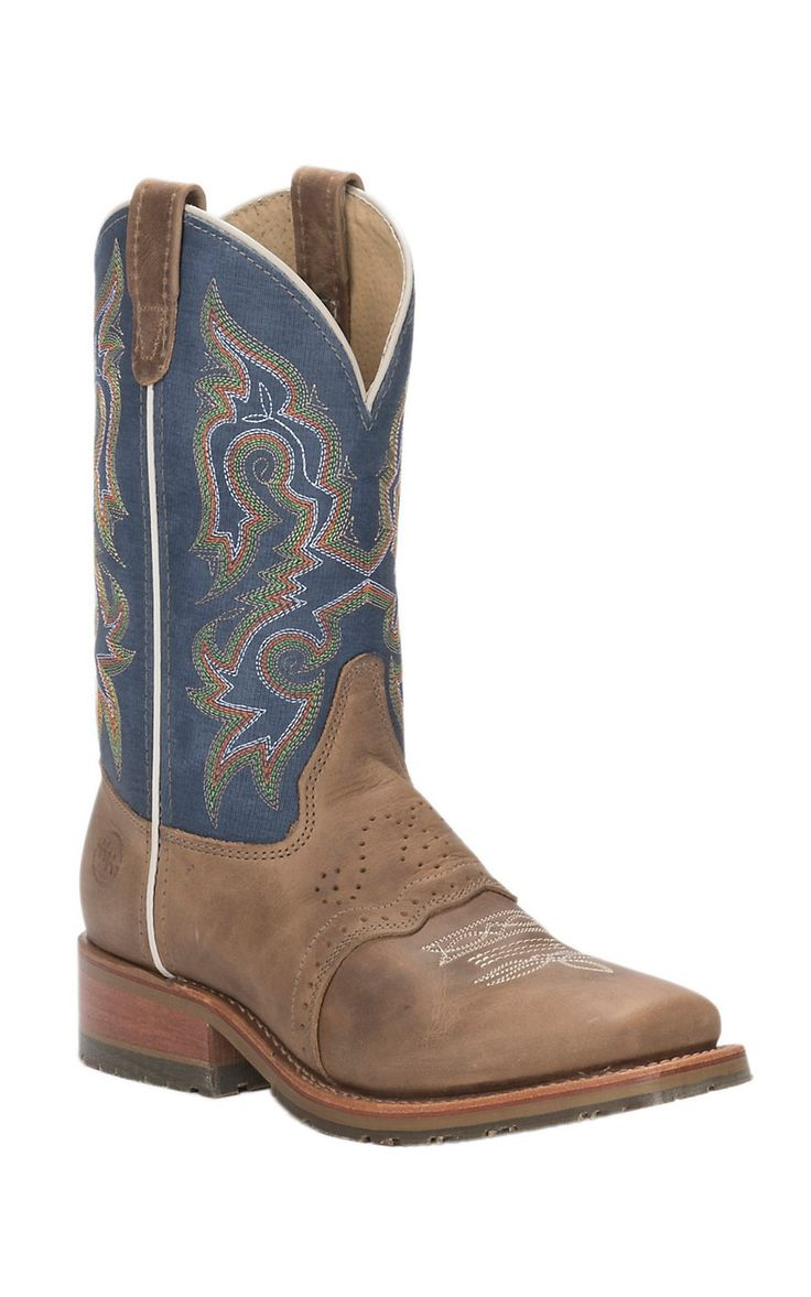Double H Men's Alamo Arena Brown Saddle Vamp with Kingston Blue Jean Top Square Toe Western Boots | Cavender's