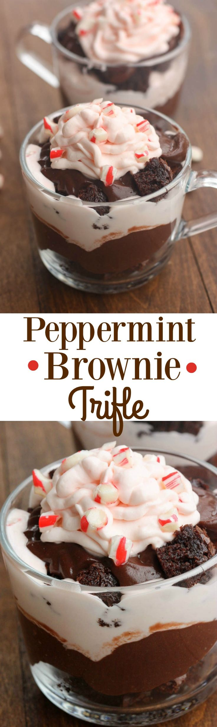 Peppermint Brownie Trifle includes layers of brownie, white chocolate mousse, chocolate pudding and crushed peppermint candies. | Tastes Better From Scratch