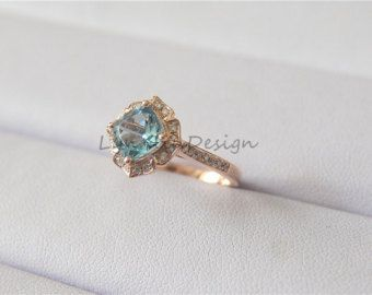 Main Stones: Natural Aquamarine Carat Weight: 1.32ctw(6x8mm) Cut: Oval Cut Color:light Blue Clarity VS   This ring also can be made with your choice of Morganite, Aquamarine,and so on, please ask for price  ~~~~~~~~~Material~~~~~~~~~ Gold: All the gold is the solid gold,all the ring can made with 14k/18k white, yellow or rose gold;  Gemstone All the diamond is conflict free(Natural Diamond) Tourmaline/Morganite/Aquamarine/Tanzanize/Amethyst/Garnet gemstone are natural stone…