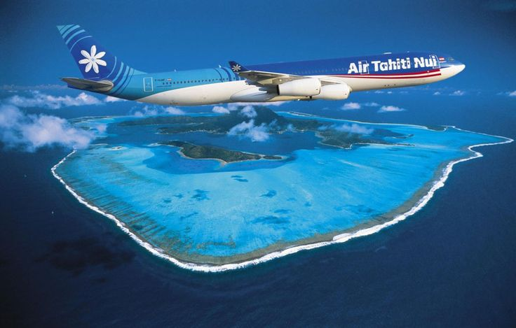Air Tahiti Nui Airbus A340-313 flying over Bora Bora in a promotional image for the airline. (Image: Air Tahiti Nui)