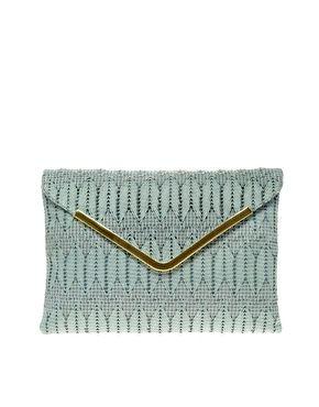 weave metal bar clutch by asos