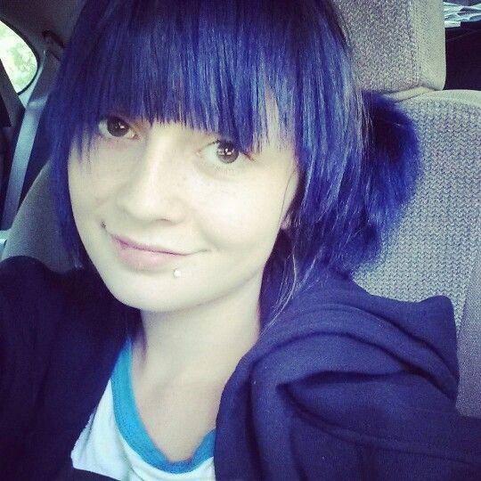 Manic Panic Midnight Blue on Brown Hair