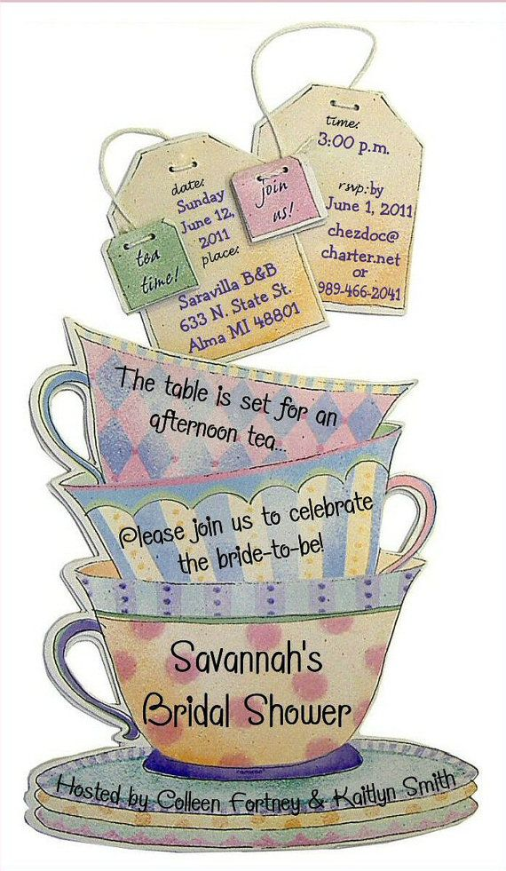 Items Similar To Teacup Invitations 12 Personalized Birthday