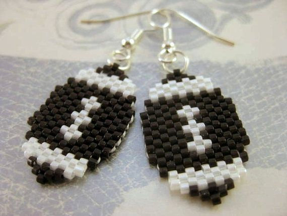 Peyote Earrings Football in Brown and White Beadwork Seed Bead Beaded Beadwoven Handmade on Etsy, $14.00