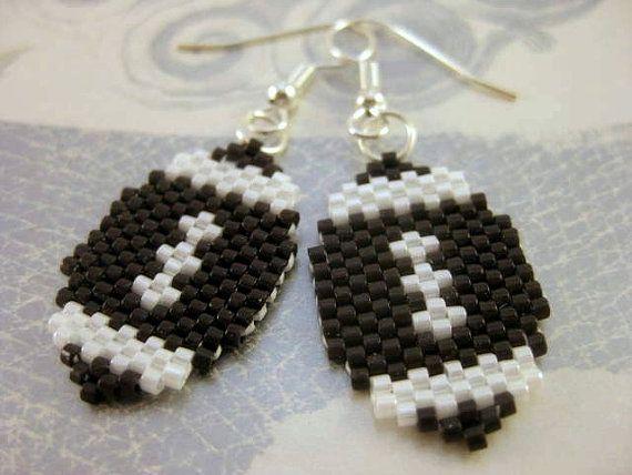 Peyote Earrings Football in Brown and White Beadwork Seed Bead Beaded Beadwoven Handmade on Etsy, $14.00