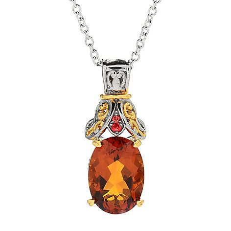 "157-701 - Gems en Vogue 4.86ctw Madeira Citrine & Orange Sapphire Pendant w/ 18"" Cable Chain"