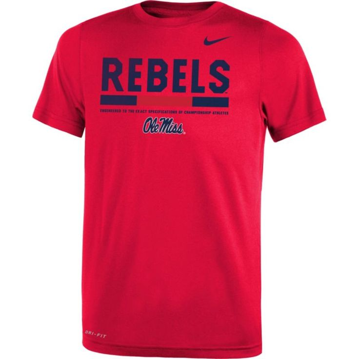 Nike Youth Ole Miss Rebels Red Football Staff Legend T-Shirt, Size: Large, Team