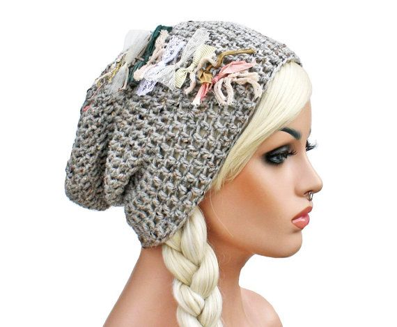 Slouch Beanie Grey Oatmeal with Elegant Shabby by GlamourDamaged, $26.00