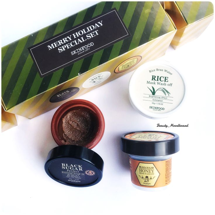 Skinfood Merry Holiday Special Set : Black Sugar Scrub ~ Rice Mask Wash Off ~ Black Sugar Honey Mask Wash Off