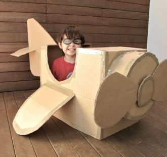 A plane made from a box and cardboard!  Get those imaginations working!