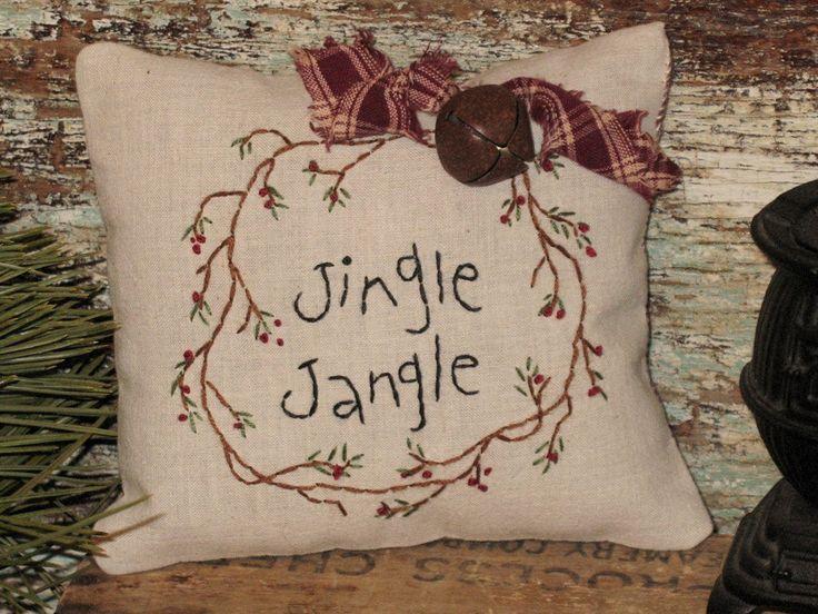 Country Primitive Christmas Stitchery Decor Pillow. $7.95, via Etsy.