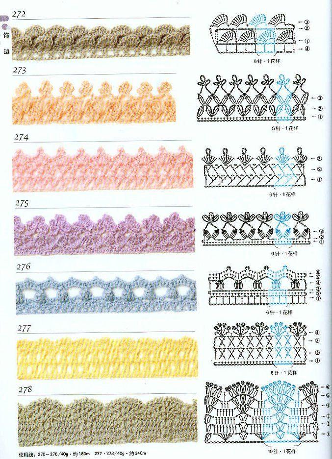 Crochet edgings.  Crochet borders. As Receitas de Crochê: Barradinhos para paninho de prato