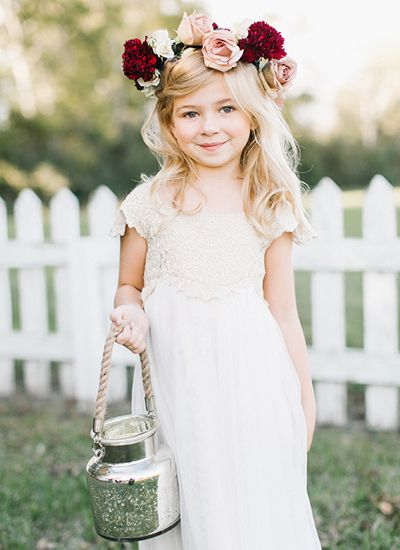 Love this flower girl simple dress and bohemian floral crown! Fall Texas Wedding by Kristen Kilpatrick - Southern Weddings