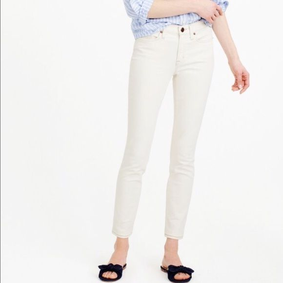 """J. Crew Toothpick Jeans - Ecru Our skinniest style, the toothpick is lean, cropped and a little bit sexy. 27.5"""" inseam. Premium stretch cotton from North Carolina-based Cone Denim®, one of the oldest denim mills in the world. With its amazing stretch and recovery, it holds you in and never bags out. This pair is made with ecru cotton, the natural color of undyed denim. It's perfect for a bright (but not white) update to your collection. J. Crew Jeans Ankle & Cropped"""