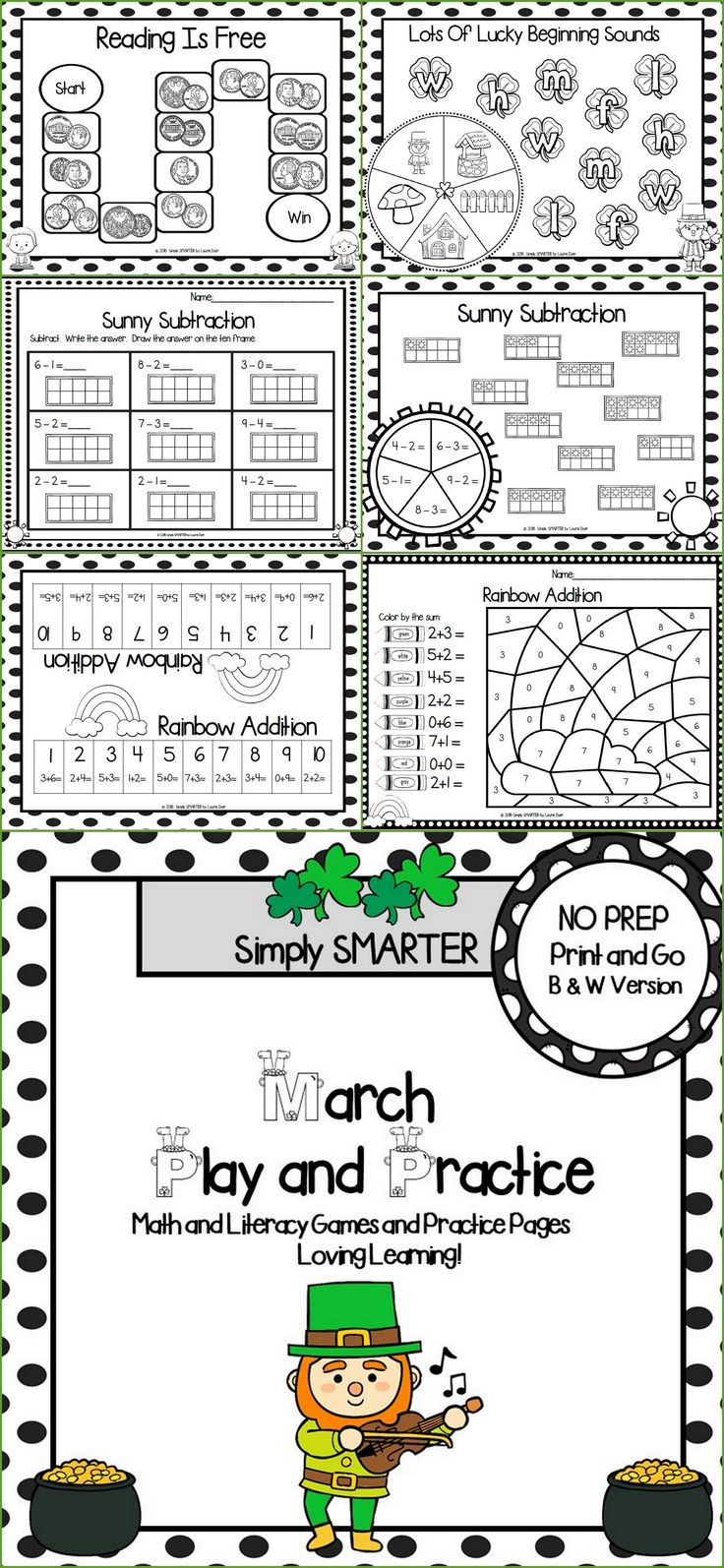 Are you looking for NO PREP math and literacy activities for preschool, kindergarten, or first grade? Then enjoy this math and literacy resource which is comprised of TEN MARCH themed BLACK AND WHITE BOARD GAMES and TEN WORKSHEETS THAT COMPLEMENT THE GAMES. The games and worksheets can be used for math centers, word work, literacy centers, early finishers, enrichment, remediation, independent work, morning work, focus lessons, and homework.