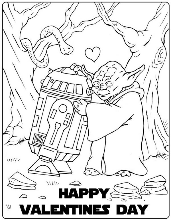 star wars valentine coloring page
