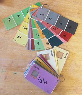 Paint Chip Phonics Learning game. A use for all those paint samples I've got.                                                                                                                                                                                 More