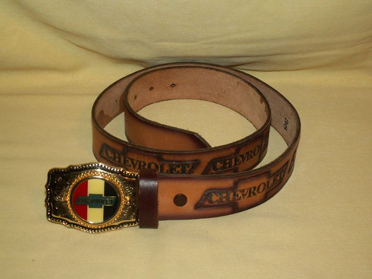 Chevy Belt Buckle Leather Belt Hand Tooled Chevrolet Red