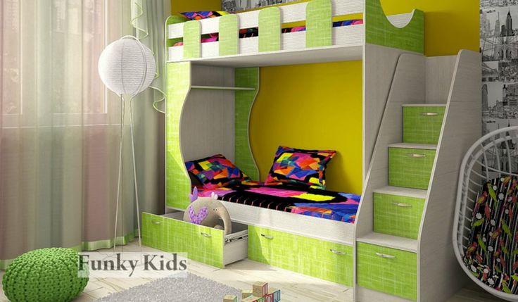 """Двухъярусная кровать «Фанки Кидз 5». Шкаф. Лестница. Комод. Мебель ИМ """"Л..."""