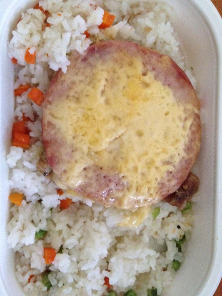 sajttal, sonkával rakott karaj, zöldséges jázmin rizs - Interfood