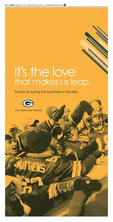 The Packers thanked their fans in this full-page ad in today's Green Bay Press-Gazette