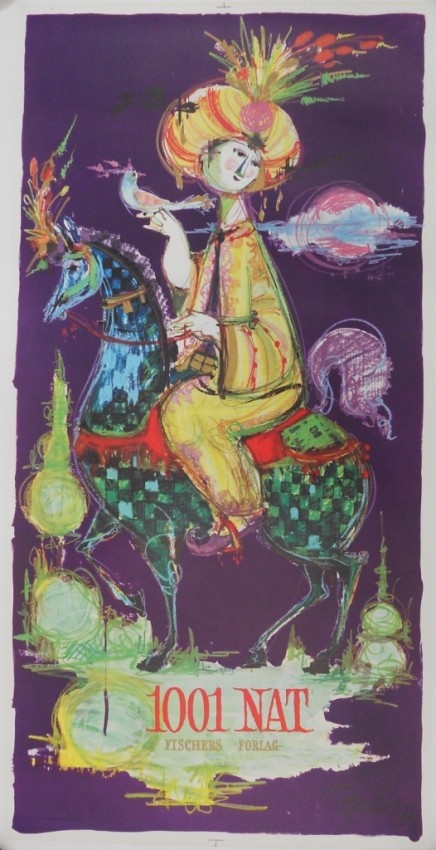 1001 Arabian Nights Danish Poster by Bjørn Wiinblad