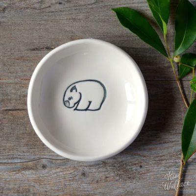 Bush Prints Collection ~ wombat porcelain bowl    A collaboration between artist Renée Treml and Kim Wallace Ceramics ~ Handmade Australian Ceramics