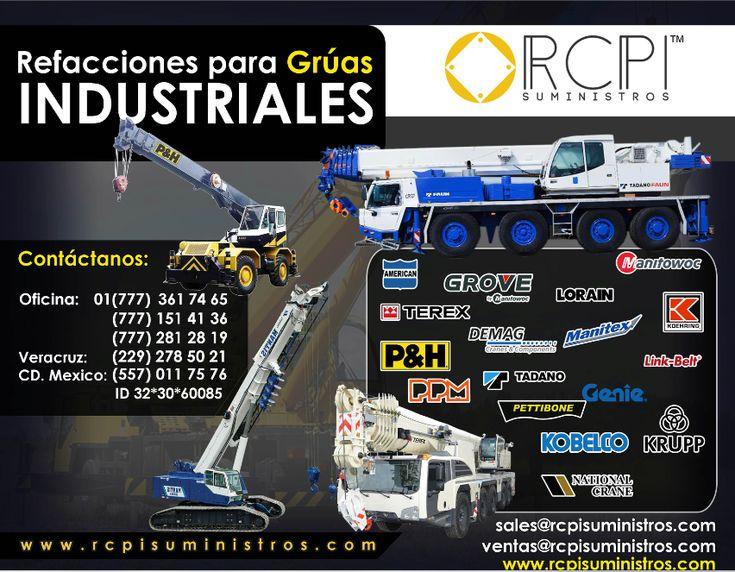 Necesitas #refacciones #filtros #sellos para tus grúas industriales, en RCPI tenemos los mejores tiempos de entrega, los mejores precios.   ¡Contáctanos!  www.rcpisuministros.com ventas@rcpisuministros.com  #GrúasIndustriales #Peças