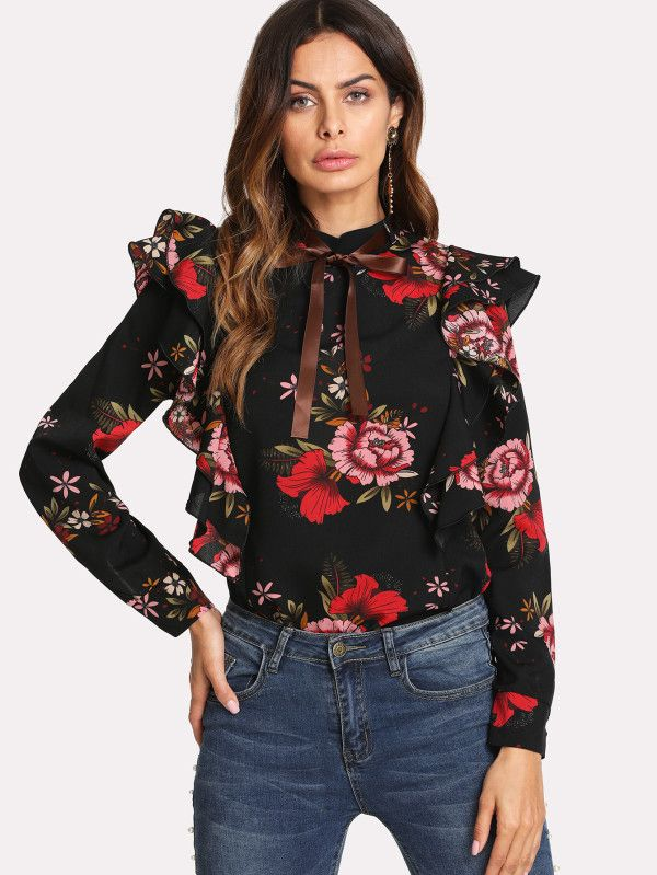 3ff6a822a2 Flower Print Ruffle Sleeve Shirt | Pinterest | Ruffle sleeve, Flower ...