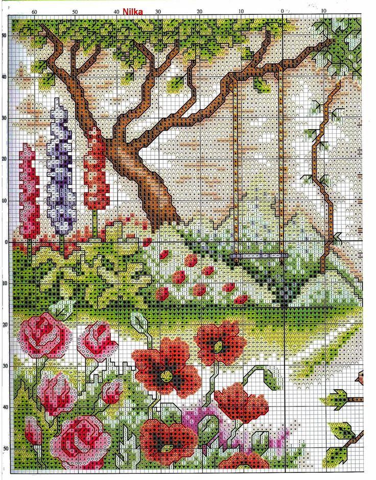 Mi jard n en punto de cruz schemi a punto croce gratuiti - Punto jardin ...