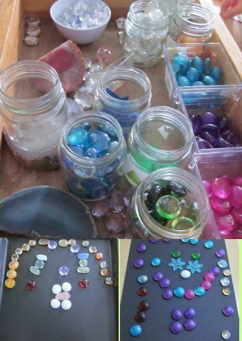 """Exploration of symmetry with 'Beautiful Stuff' - lovely loose parts ("""",)"""