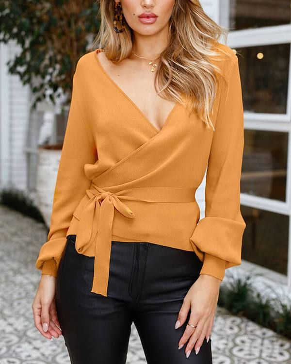 Balvin Knitted V Neck Sweater Top – Mustard