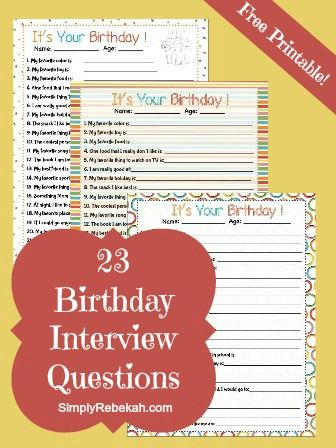 23 Birthday Interview Questions for Kids {free printable} - Ask your kids these fun questions each year on their birthday. These interview questions are available in 3 different styles.
