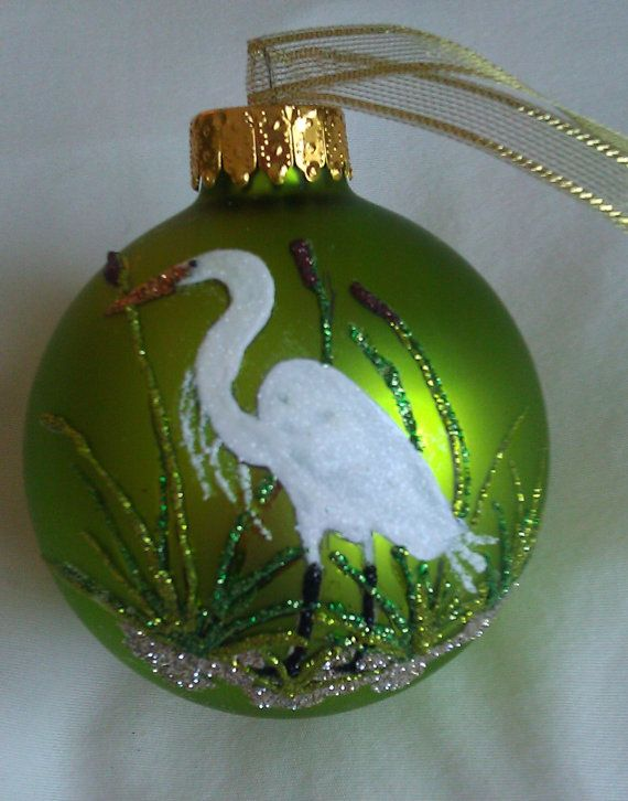 Hand painted white bird glass ball by Glitter Ornaments on Etsy