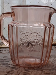 """Pink depression glass ~ love this stuff but don't have much in my """"collection."""""""