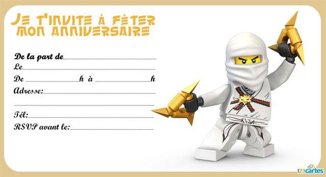 Préférence 8 invitations anniversaire Lego Ninjago - 123 cartes | Projets à  DQ63