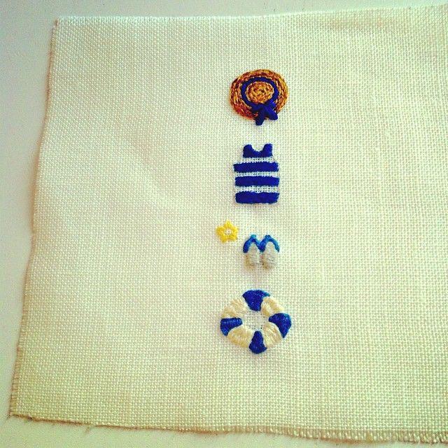 완성! 날 좋을 때 여름 느낌 나는 자수를 후다닥 놓았지요. // une broderie l'air d'été #broderie #modern_embroidery #프랑스자수