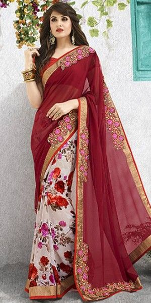 Elegant Off-White And Maroon Georgette Saree With Blouse.