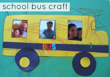 Put first day of school pictures in to turn this easy craft into a back-to-school keepsake. Like the idea but need a home school version. Instead of a bus make a house with a picture in each window & maybe the front door or each child as a flower in the front yard.