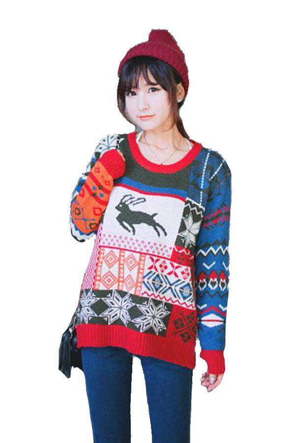 Reindeer Holiday Christmas Sweater for Women pinkqueen.com