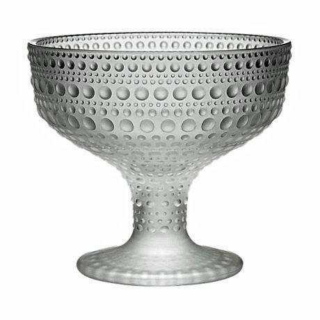 Raindrop reminders! Iittala glass 'Kastehelmi' serving bowl in matt frosted 350mls