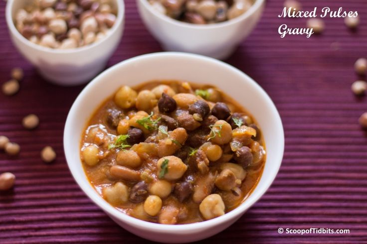 Mixed Pulses Gravy is a healthy and simple side dish that I make frequently at home as an accompaniment to chapathis. Sometimes, I do pair it with steamed