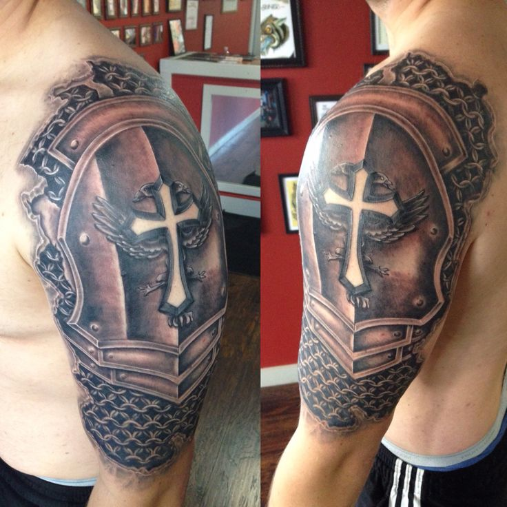 Armor sleeve coverup tattoo by Joshua Nordstrom in Kingsford Michigan, upper, UP, Wisconsin at Deft Tattoo Studio