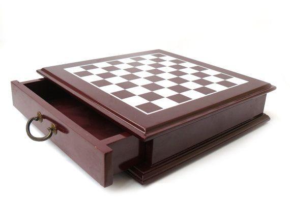 Unique Board for chess, Box vintage chess Board, solid wooden chess Board, Wooden Chess Board Set Game 24 x 24 cm, 10 x 10 in
