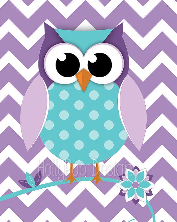 Nursery Decor Toddler Girls Room Purple Aqua by HollyPopDesigns