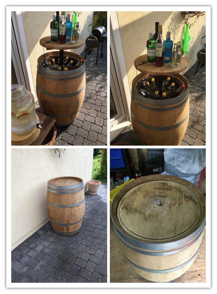 Partyfass mit Kühlbox Aus meinem Weinfass ein mobiles Partyfass mit Rollen und Kühlbox, das sich trotzdem bei nichtgebrauch als Deko sehen lassen kann.