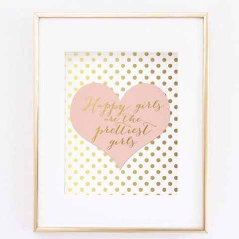 Happy girls are the prettiest girls. This print had faux gold polka dots on a white background and a blush pink heart. Perfect decor for a teen room, or a girl nursery room. This listing is for a high