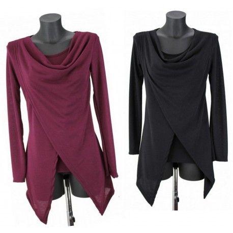 Pull drapé bordeaux ou noir