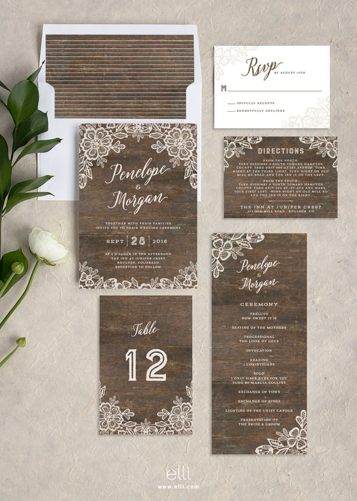 real simple unique wedding invitations%0A Rustic wedding invitation suite with romantic lace and woodgrain background